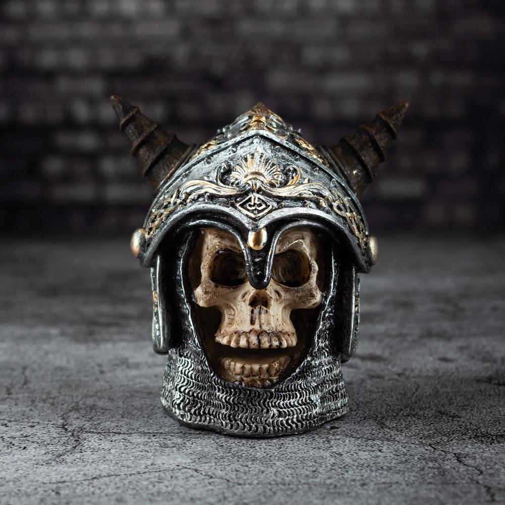 Skull Wearing Medieval Horned Helmet
