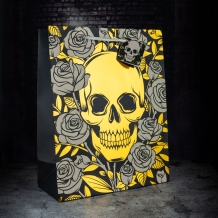 metallic skulls and roses gift bag - large