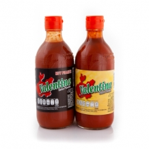 valentina salsa red & black label mexican hot chilli sauce 2 x 370ml
