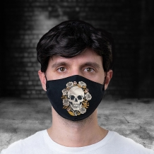 skulls and roses reusable face covering