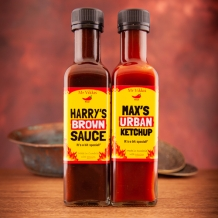 mr vikki's harrys brown sauce & max's urban ketchup double pack